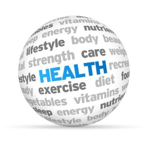 3d Health Word Sphere on white background.